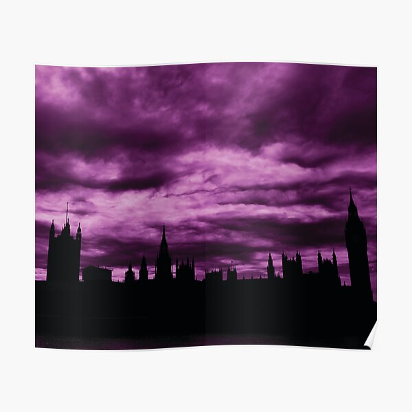 Second Dramatic Houses of Parliament At Dusk With Purple Clouds Poster