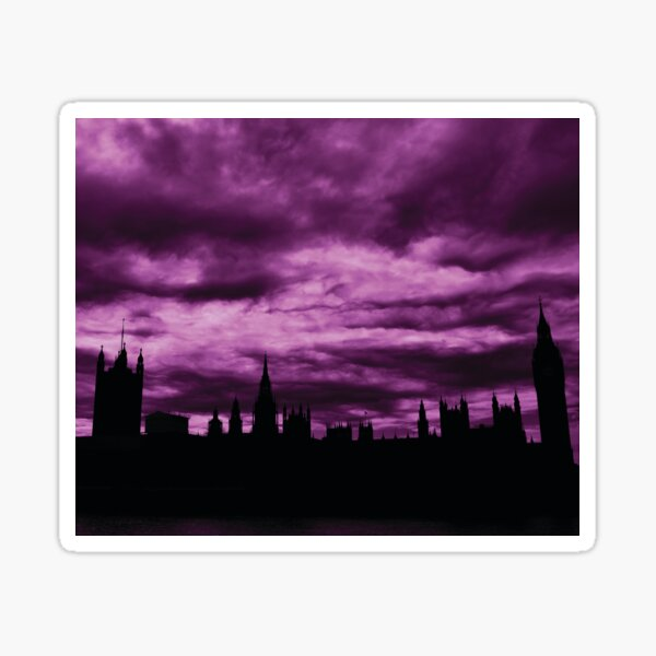 Second Dramatic Houses of Parliament At Dusk With Purple Clouds Sticker