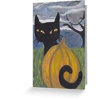 halloween black cat with pumpkin Greeting Card