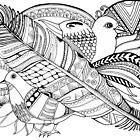 Vogel doodle Schwarz/Weiß by Dakinisa