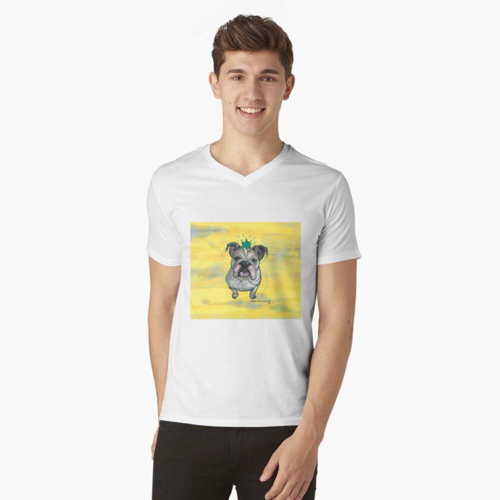 Bulldoggen Prinzessin T-Shirt mit V-Ausschnitt