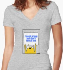 I need a hug but don't touch me Women's Fitted V-Neck T-Shirt