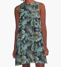 Seamless pattern with tropical leaves A-Line Dress