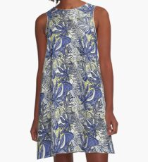Seamless pattern with tropical leaves. A-Line Dress