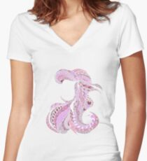 Pastel Pink Ariel Women's Fitted V-Neck T-Shirt