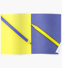 Yellow and Violet coloured pencils and paper Poster