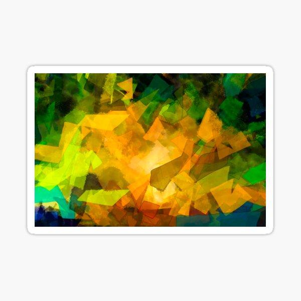 Green Yellow Watercolor Abstract Wall Art - Contemporary Artwork Sticker