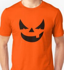"""Horner"" Jack O'Lantern - Halloween- Pumpkin, Orange, Black, All Hallows Eve, Simple, Contemporary Unisex T-Shirt"