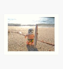 Surfing Stormtrooper Art Print