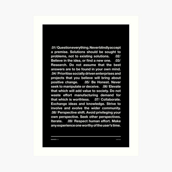 Manifesto 1.0 - Black Art Print
