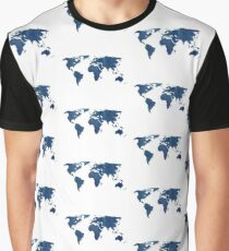 Midnight Blue Watercolor World Map Graphic T-Shirt