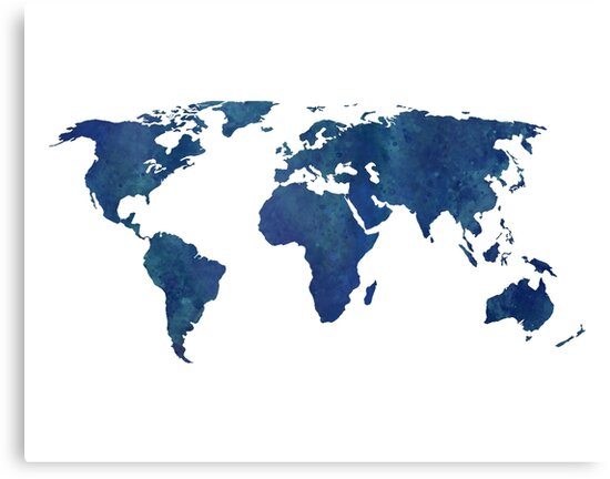 Midnight blue watercolor world map canvas prints by leah biernacki midnight blue watercolor world map by leah biernacki gumiabroncs Gallery