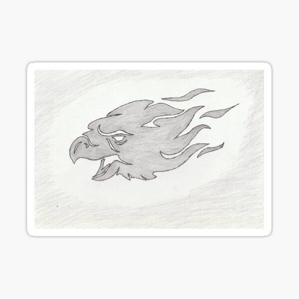Eagle Fiery Face Sketch Sticker