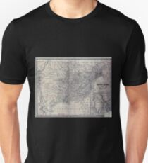 0008 Railroad Maps Map of the United States of America to accompany Doggett's Rail Road Unisex T-Shirt