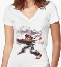 Street Fighter #2 - Ryu Women's Fitted V-Neck T-Shirt
