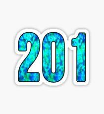 201 area code Sticker