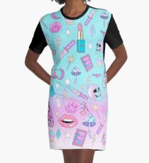 Girly Pastel Witch Goth Pattern Graphic T-Shirt Dress