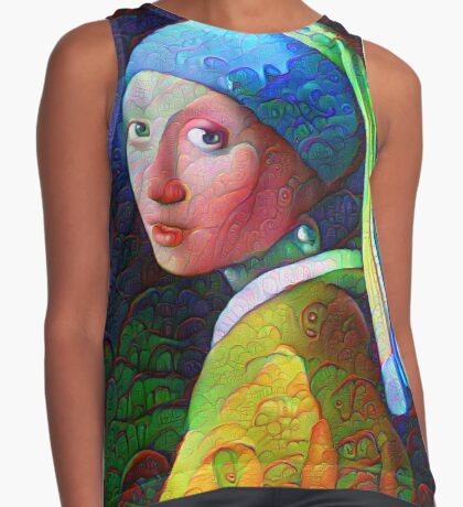 "DeepDreamed ""Girl with a Pearl Earring"" Contrast Tank"