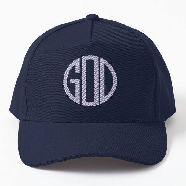 God-all glory to God-monogram-circle pattern-blue stripe-God is all around us Baseball Cap
