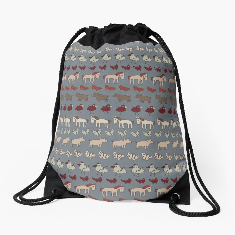 Striped Pigs and Ponies - Grey - farmyard pattern by Cecca Designs Drawstring Bag Front