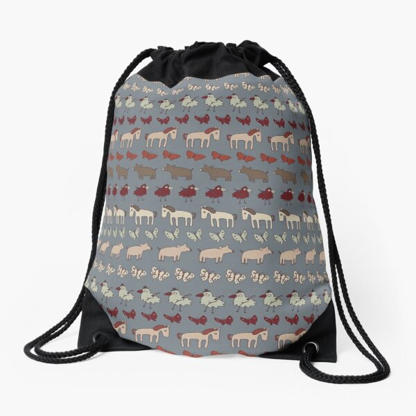 Striped Pigs and Ponies - Grey - farmyard pattern by Cecca Designs Drawstring Bag