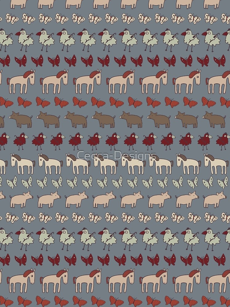 Striped Pigs and Ponies - Grey - farmyard pattern by Cecca Designs by Cecca-Designs