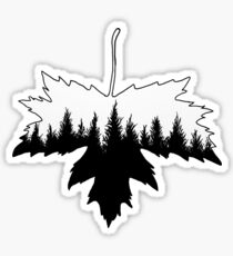 Pine Tree Maple Leaf Sticker