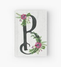 Letter B with Floral Wreath Hardcover Journal