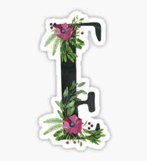 Monogram E with Floral Wreath Sticker
