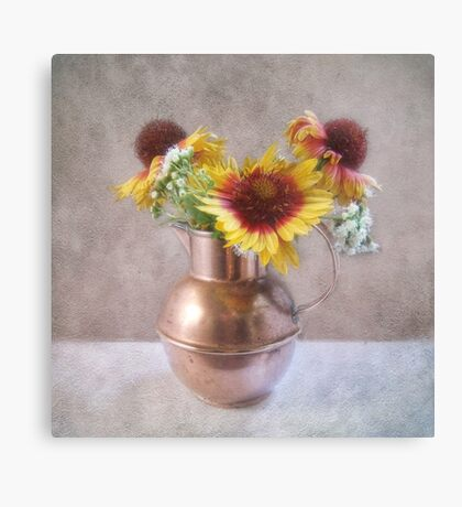 Sunny Flowers in a Copper Pitcher Canvas Print