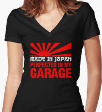 Made In Japan PERFECTED IN MY GARAGE (2) Women's Fitted V-Neck T-Shirt