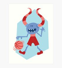 Funny Monster with Ball Art Print