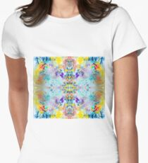 Eye catching vibrant colorful abstract symmetrical ink design pattern Womens Fitted T-Shirt