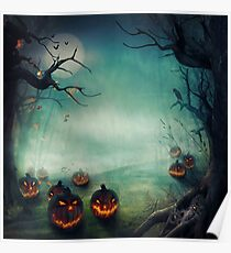 halloween,pumpkins,bats,crows,desolate forest,dark and gloomy Poster
