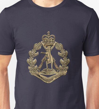 Royal Australian Regiment   -  RAR  Badge over Blue Velvet Unisex T-Shirt
