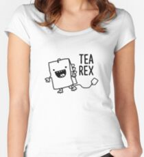 Tea Rex Tea Bag Funny Pun Cartoon Women's Fitted Scoop T-Shirt