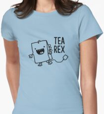 Tea Rex Tea Bag Funny Pun Cartoon Womens Fitted T-Shirt