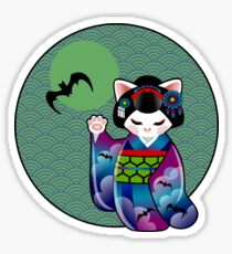 Halloween Kokeshi Maneki Neko Maiko Sticker