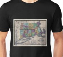0049 Railroad Maps Map of Massachusetts Connecticut and Rhode Island constructed from the latest Unisex T-Shirt