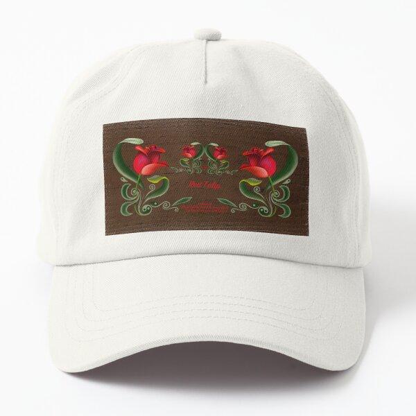 D1G1TAL-M00DZ ~ FOLKART ~ Red Tulip Custom Design by tasmanianartist Dad Hat