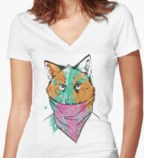 BANDITO WOLF Women's Fitted V-Neck T-Shirt