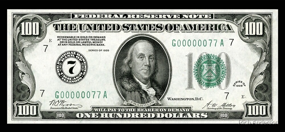 Quot Old School 100 Hundred Dollar Bill Quot By Rich Anderson