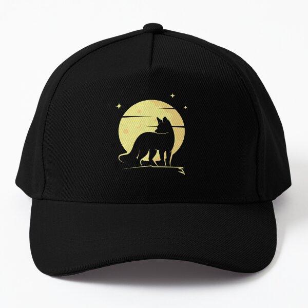 Fox Silhouette with a Full Moon Baseball Cap