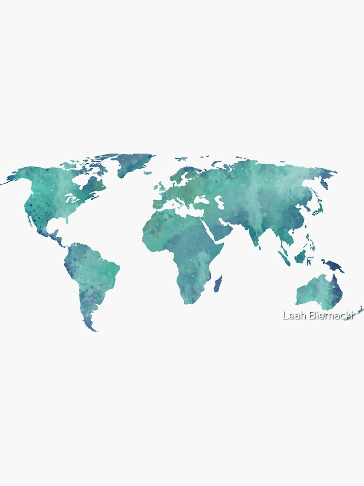 Watercolor map in turquoise  by adventureliela