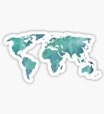 Watercolor map in turquoise  Sticker