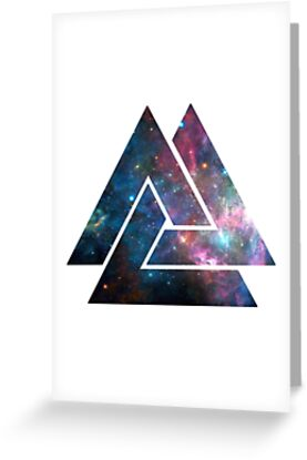 galaxy nebula triangle design by suede apparel greeting cards by