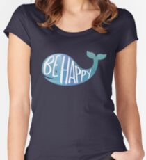 Happy Whale Women's Fitted Scoop T-Shirt