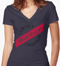 Jamaica Red Stripe Lager Beer Women's Fitted V-Neck T-Shirt