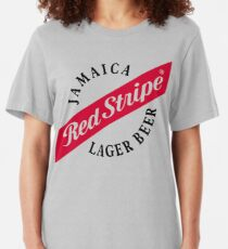 Jamaika-rotes Streifen-Lager-Bier Slim Fit T-Shirt