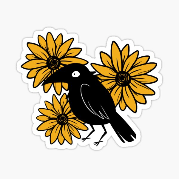 Crow and Sun Flowers Sticker